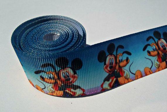1 Wide Disney Themed Ribbon 1 yard  Mickey by HappyBowSupplier, $1.00