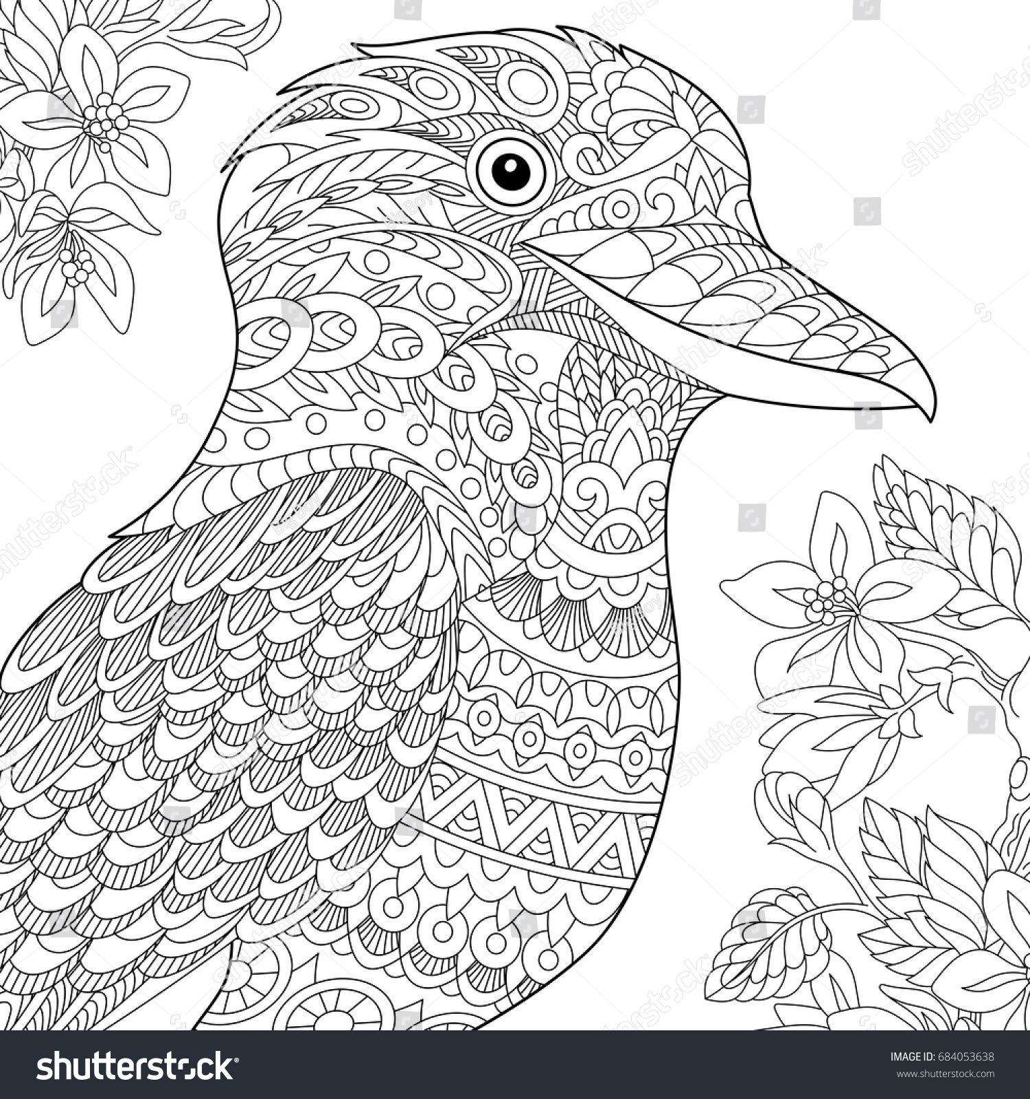 Coloring Page Australian Kookaburra Bird Freehand Sketch Drawing For Adult Antistress Book In Zentangle Style