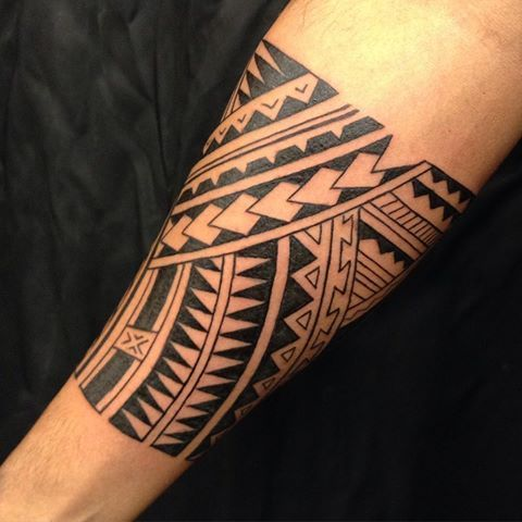 Todays session freehand polynesian style forearm band for Forearm tribal tattoo