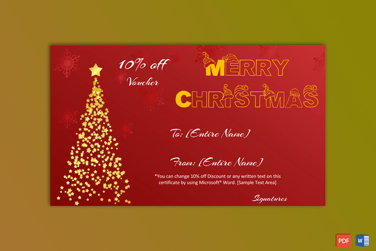 Christmas Gift Certificate Template Golden Tree Christmas Gift Certificate Template Christmas Gift Certificate Gift Certificate Template