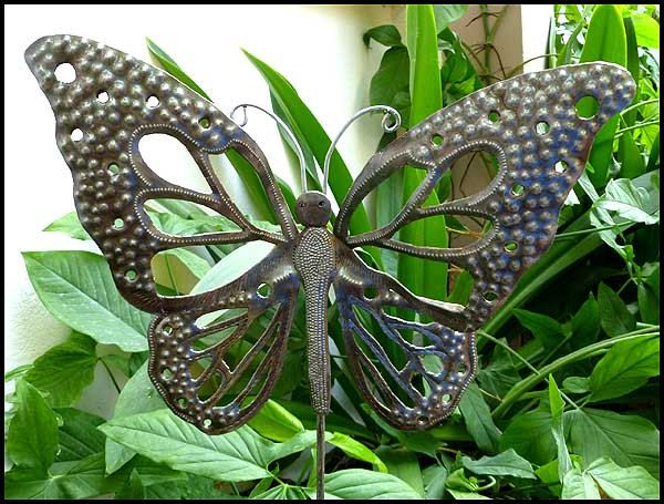 Nice Metal Plant Stake   Metal Garden Decor, Metal Art, Garden Plant Stick,  Garden Art,   Metal Butterflies   Steel Drum Art From Haiti   By  HaitiMetalArt On ...