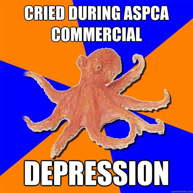 cried during aspca commercial depression