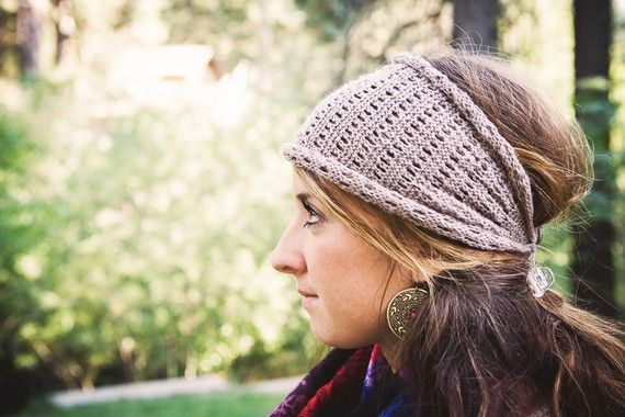 KNITTING PATTERN Lacy Head Wrap Ear Warmer por mclaughlindesigns