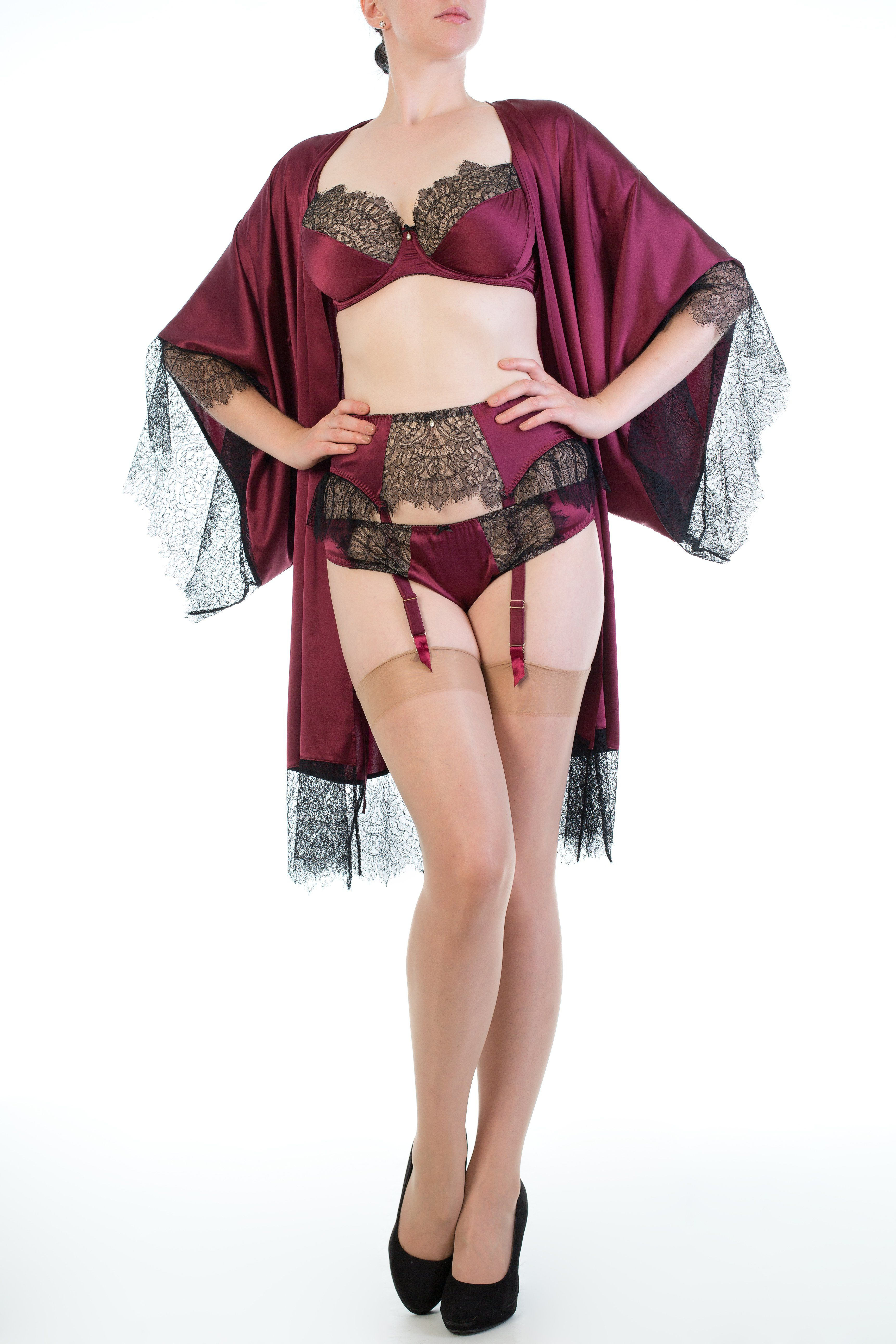 938c16d47 Harlow   Fox Eleanor Damson lingerie set with silk kimono