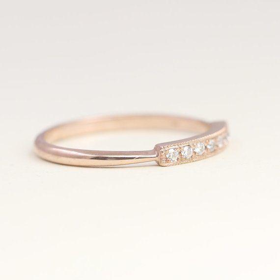 14k Gold Diamond Ring Diamond Wedding Band Dainty Diamond Etsy In 2021 14k Gold Ring Diamonds Diamond Wedding Bands Gold Diamond