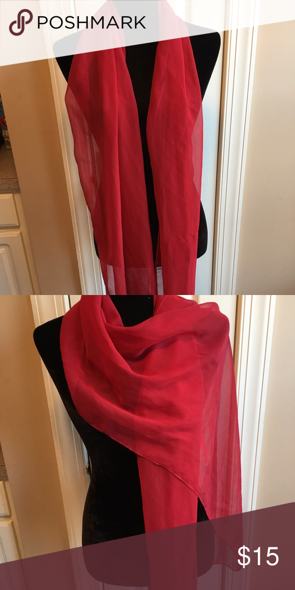 Sheer red scarf Excellent condition. 10 day sale and will be donated if not sold by 11 /20. Sold as is and price is firm. Nonsmoking home Accessories Scarves & Wraps