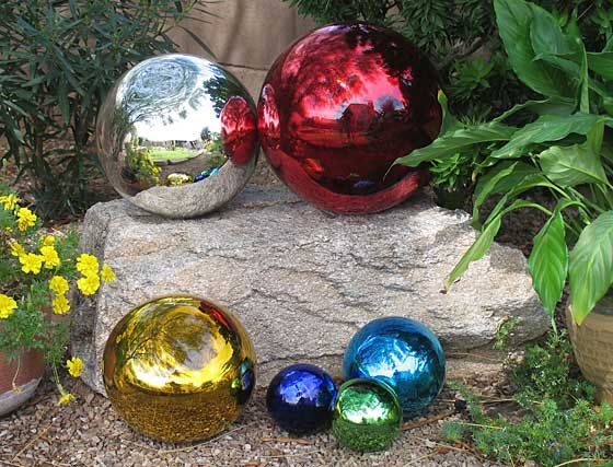 Hand blown glass gazing balls These Mexican glass garden globes