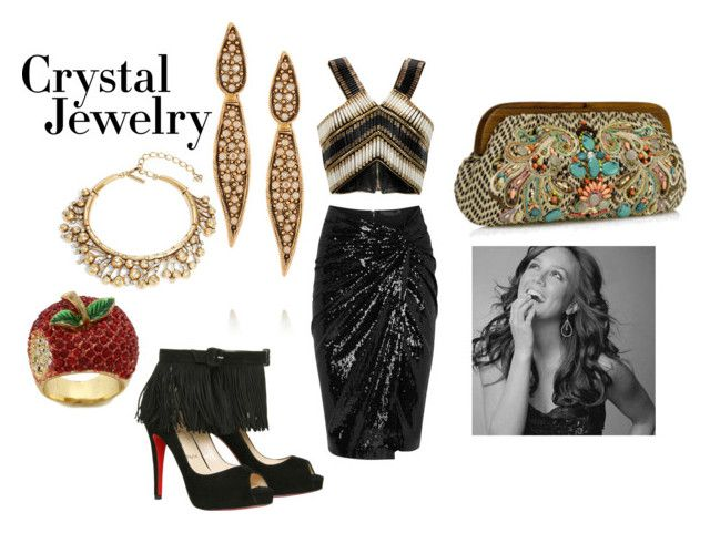 """night out crystal jewelry"" by marie-berge ❤ liked on Polyvore featuring Oscar de la Renta, Donna Karan, Balmain, Monsoon, Christian Louboutin, ASOS, NightOut, christianlouboutin, midiskirt and crystaljewelry"