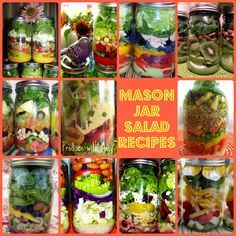 Mason Jar Salad Recipes by Produce with Amy with homemade dressing. Click on the photo to access the link to recipes for over 30 jar salads. The glass jars and metal lids keep the salads fresh for a week. Prep once and have healthy food right at your fingertips!