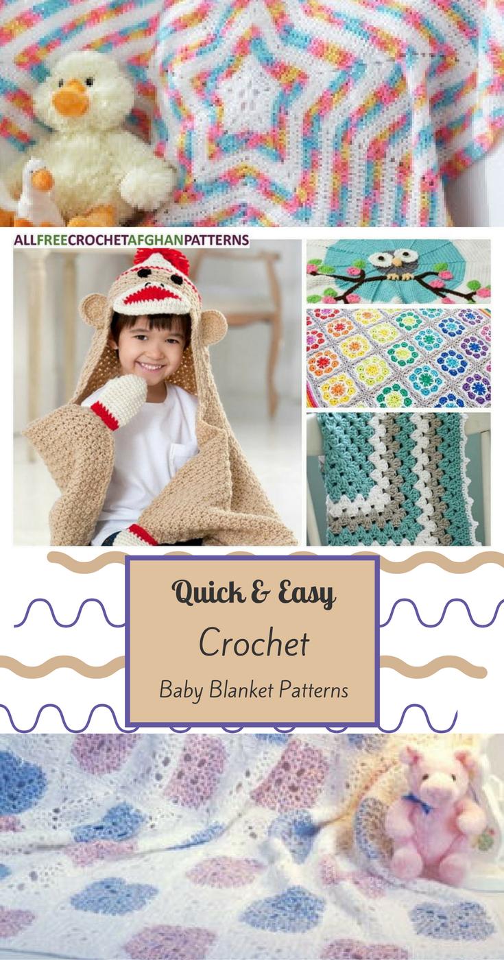 40+ Quick and Easy Crochet Baby Blanket Patterns | Mantas, pie de ...