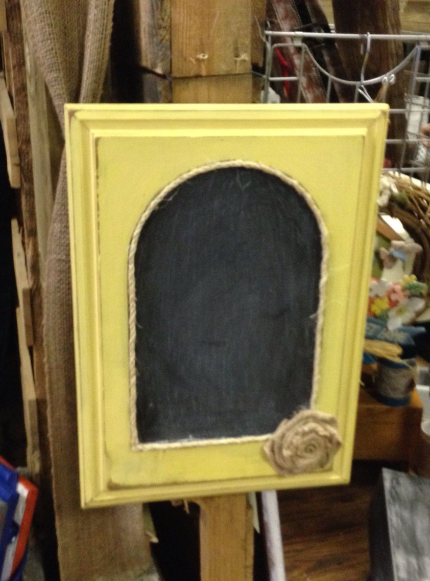 Chalk Board Made From Old Cabinet Door The Door Had A Mirror I Just Painted Over It Hot Glued Some Rope And A Burl Burlap Roses Old Cabinets Old Cabinet Doors