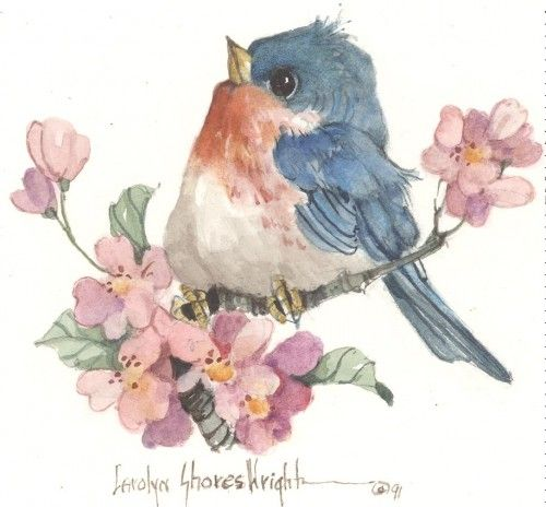 Little Bluebird 3x3 image watercolor