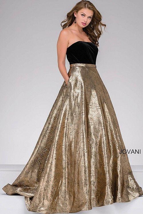 8259692ad86ca Black and Gold Strapless Velvet Bodice Prom Ballgown #JOVANI #47982  #Holidays2016
