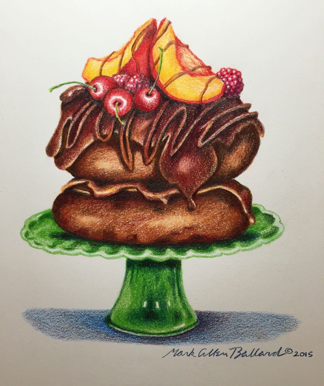 Chocolate and fruit dessert color pencil drawing