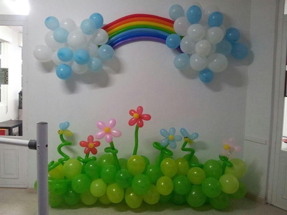 Decoracion con globos para pared flores y arcoiris mi - Decorar con globos ...