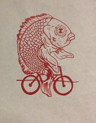 Fish on a bicycle. Art/graphic idea