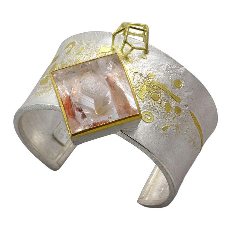 Liaung-Chung Yen Cuff Bracelet in Sterling & 18K Gold with Quartz