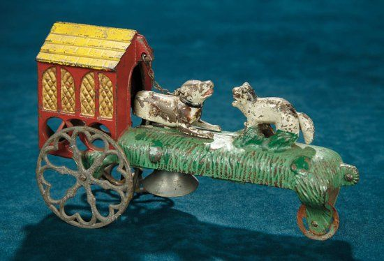 """American Cast Iron Mechanical Toy by Gong Bell~~9"""" (23 cm.) The cast iron toy…"""