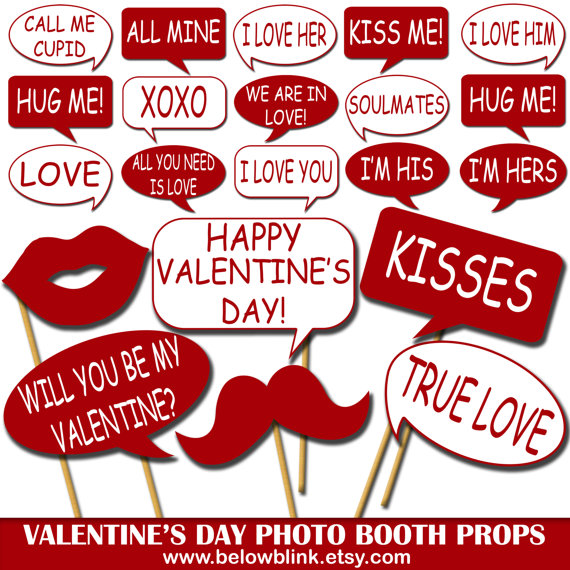 Valentines Day Photo Props Printable Photo Booth Props Speech