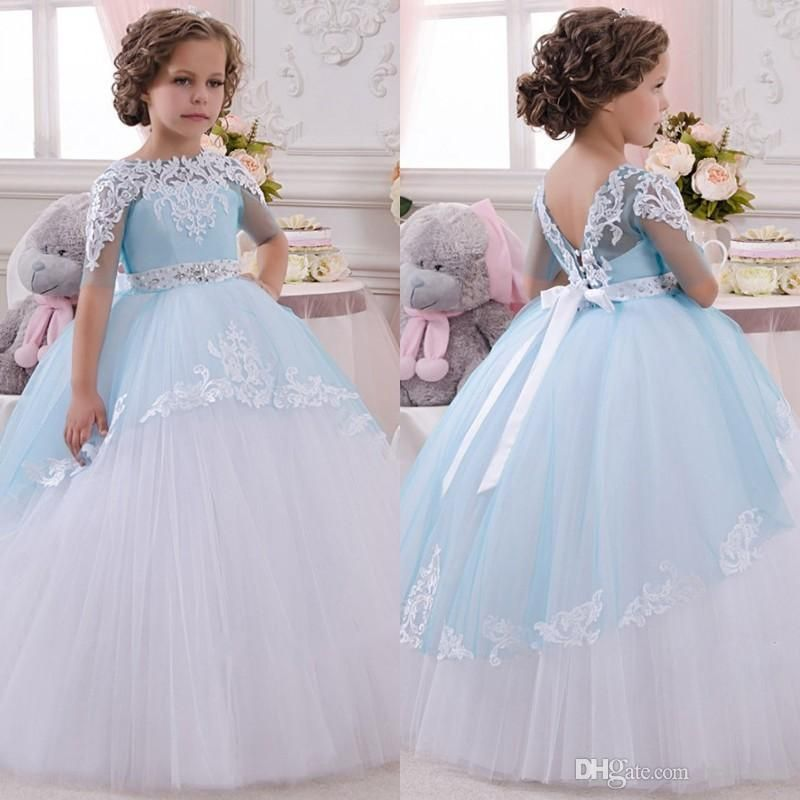2016 new baby girl dress princess flower girls dress lace appliques wedding prom ball gowns birthday