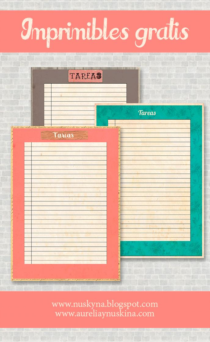 Imprimibles gratis organización.Papeles para tareas descargar gratis ...