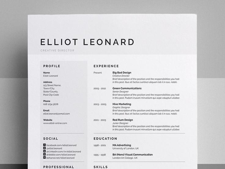 ResumeCv  Elliot  Resume Ideas Resume Cv And Brand Design