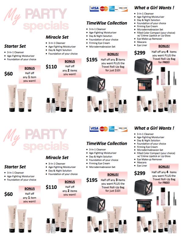 Free Printables: Mary Kay® Party Specials Mary Kay Party, Mary
