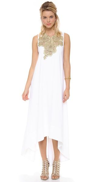 BCBGMAXAZRIA Embellished Neck Open Back Dress... I love bridesmaids all in white!