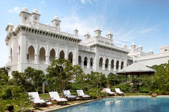 "Historically, Falaknuma Palace is known to be one of the finest places in all of Hyderabad, India. The palace lives on 32 acres and sits 2000 feet above the city, the name Falaknuma literally means ""mirror of the sky."""