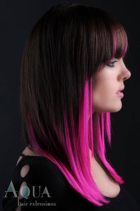 Hot Pink Underneath Dark Hair Great Idea Hair Styles Dyed Hair Long Hair Styles