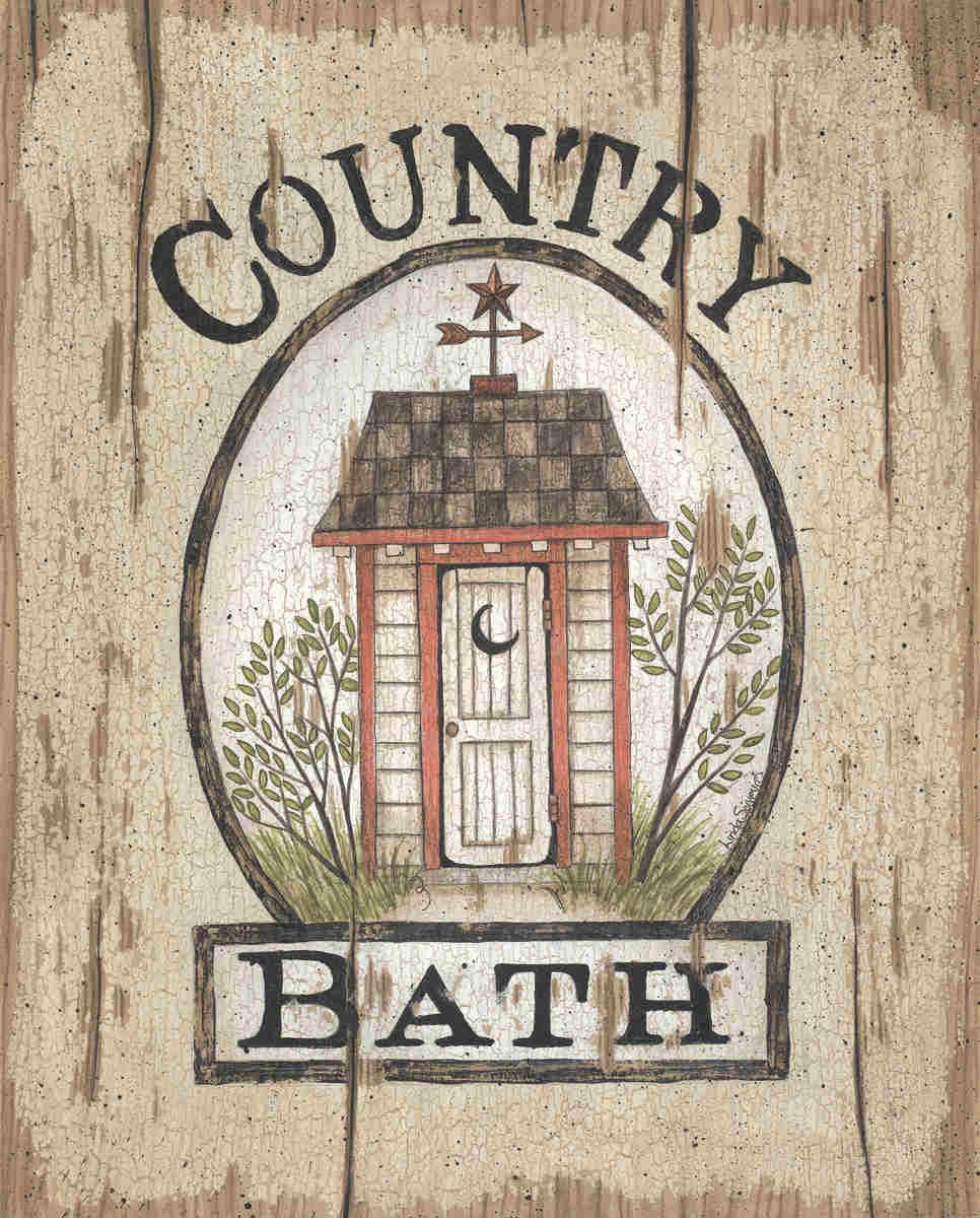 Framed Art Bathroom Country Bath Outhouse By Linda Spivey Art Print Framed