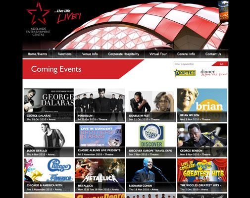 Adelaide Entertainment Centre  The #website #design for the #Adelaide Entertainment Centre has been designed to feature ever changing content in an easy to navigate layout. The website design features Adelaide Entertainment Centre brand identity and information presented in visuals.