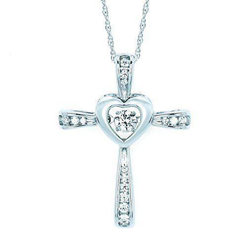 Sterling silver diamond accent cross pendant necklace 18 ooh sterling silver diamond accent cross pendant necklace 18 mozeypictures Images