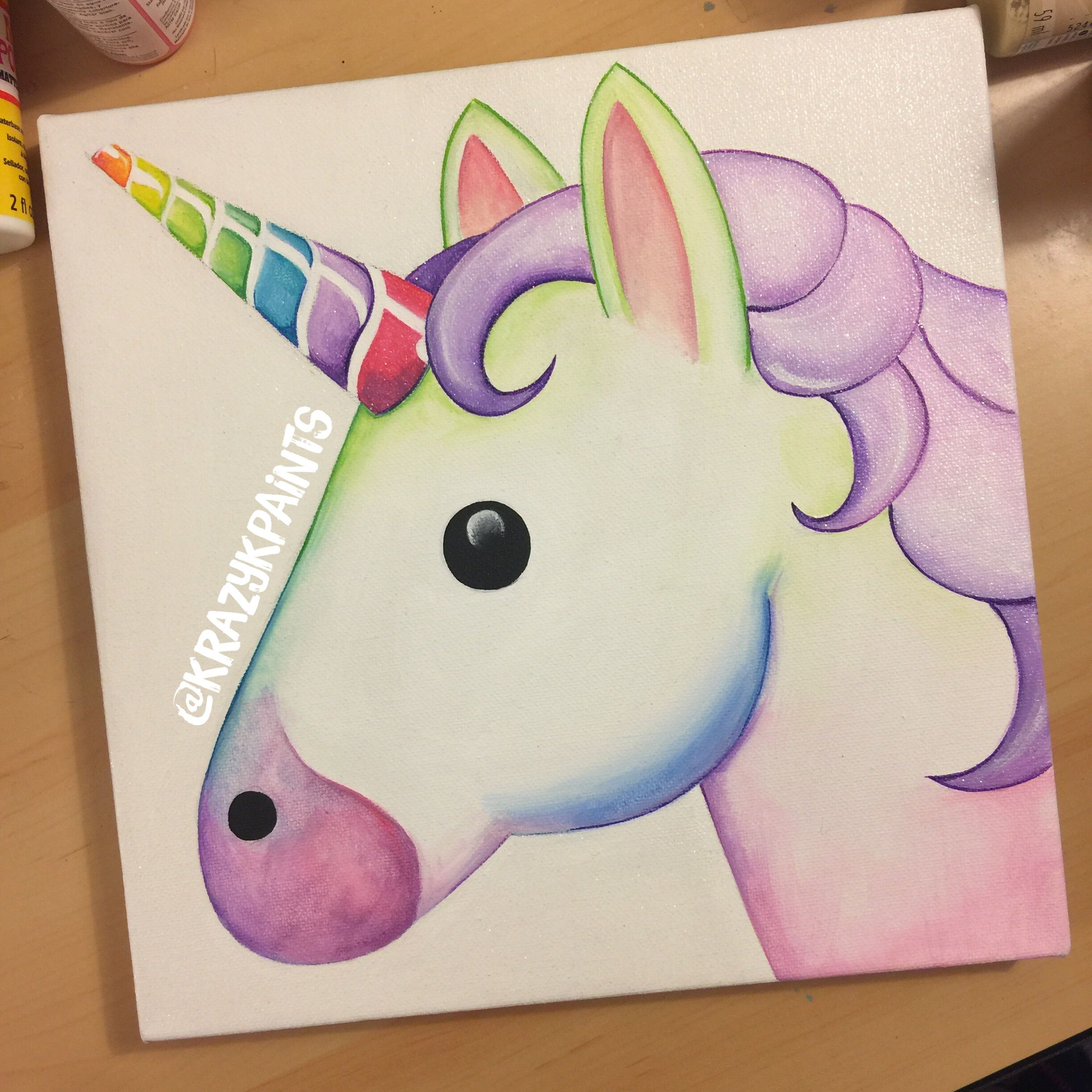 Unicorn Emoji Canvas Great For Kids Room Decor Cute Paintings