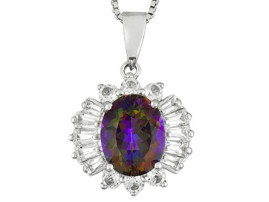 2 69ct Oval Peony Tm Mystic Topaz R With 94ctw Baguette And