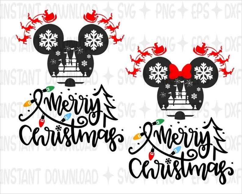 Disney Mery Christmas SVG / Mickey & Minnie Mouse