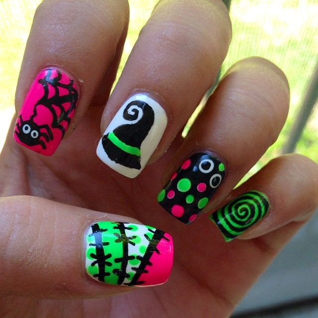 Fluorescent Green, Neon Pink & Black Halloween Mani ...