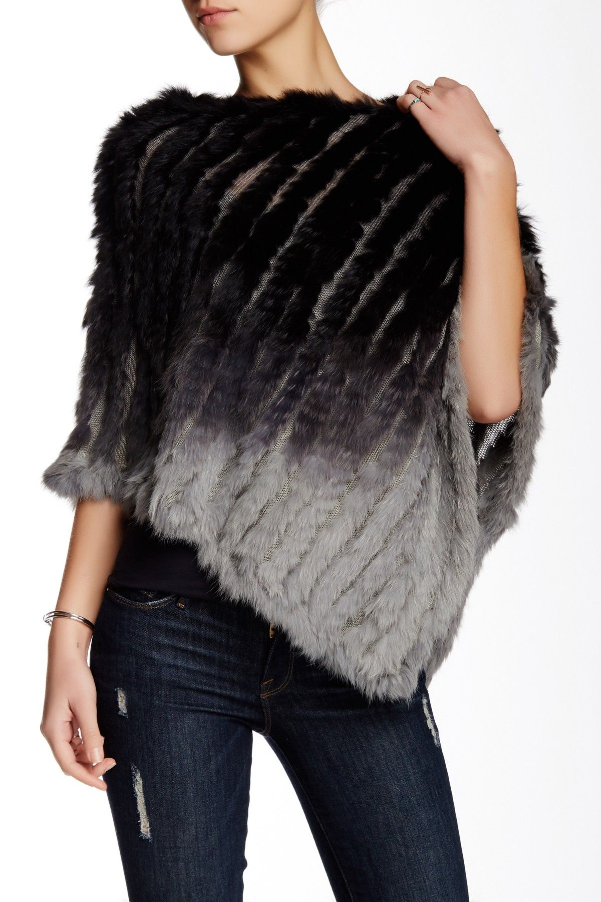 38e88f0e7 Love Token | Aiden Ombre Dyed Rabbit Fur Poncho | gotta have clothes ...