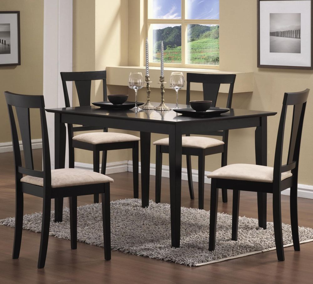 5 Piece Dining Table Chairs Set Wooden Kitchen Room Furniture Kit
