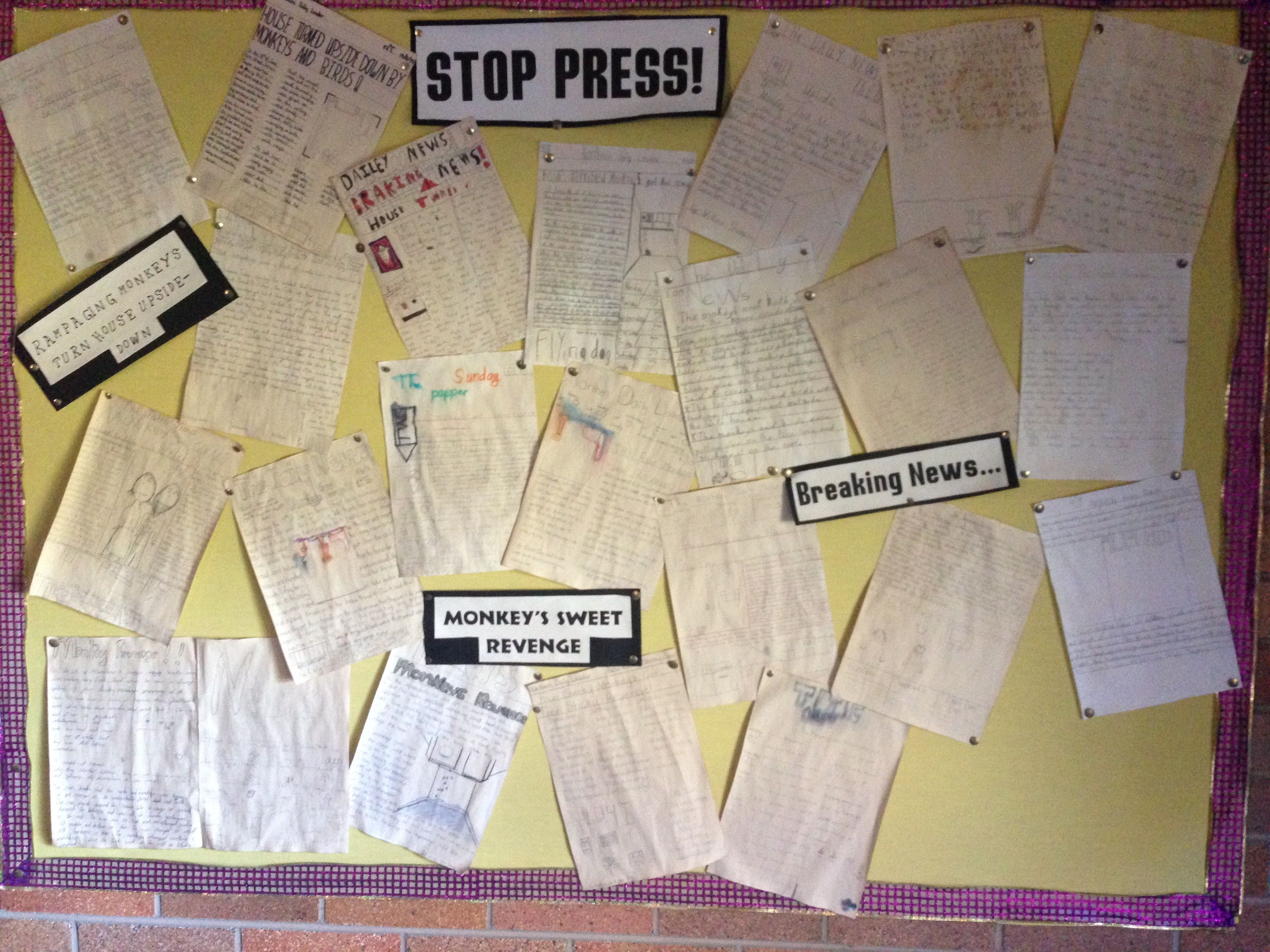 The Twits. Primary created newspaper articles reporting on the strange occurrence of a house being turned upside down in a scandalous prank on Mr and Mrs Twit.