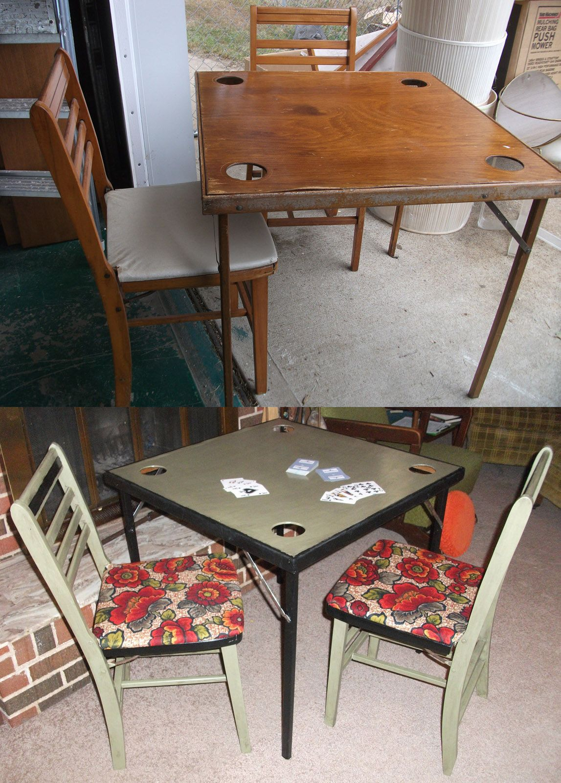 Before And After Game Night Vintage Wooden Card Table With Built In Drink Holders And Folding Wooden Chairs Upda Wooden Step Stool Wooden Chair Wooden Cards