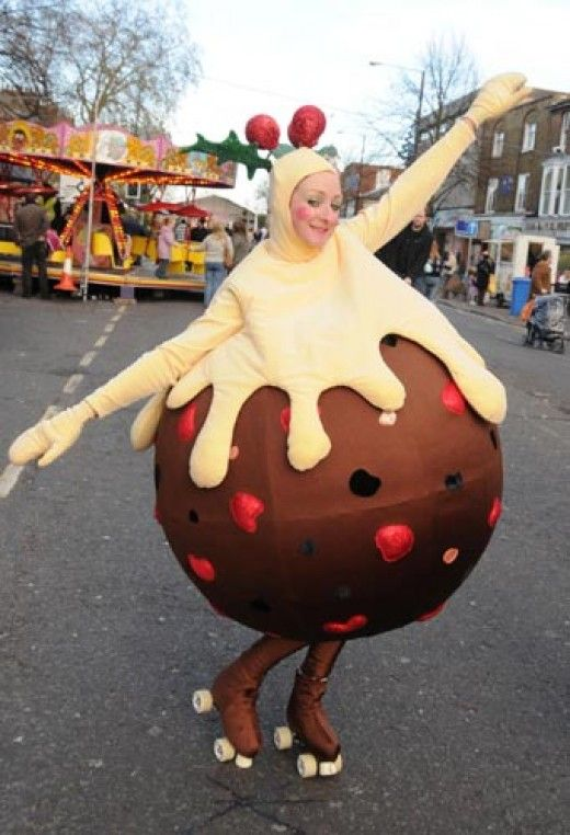 Roller Skating in Christmas Pudding Costume - Christmas Or Plum Pudding Costumes And Dresses Awesome Christmas