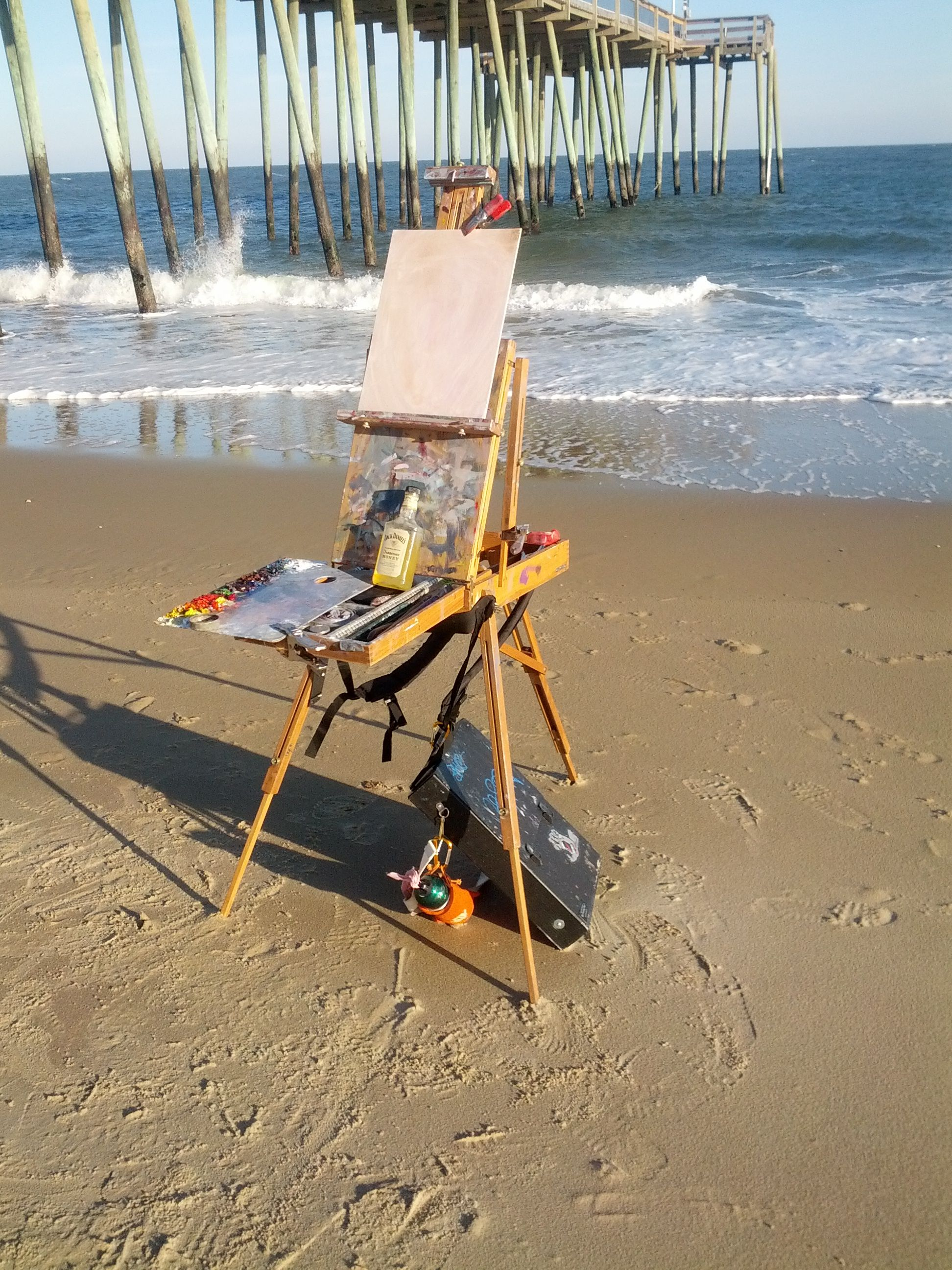 painting on the beach at Ocean City, MD,,,this pier has