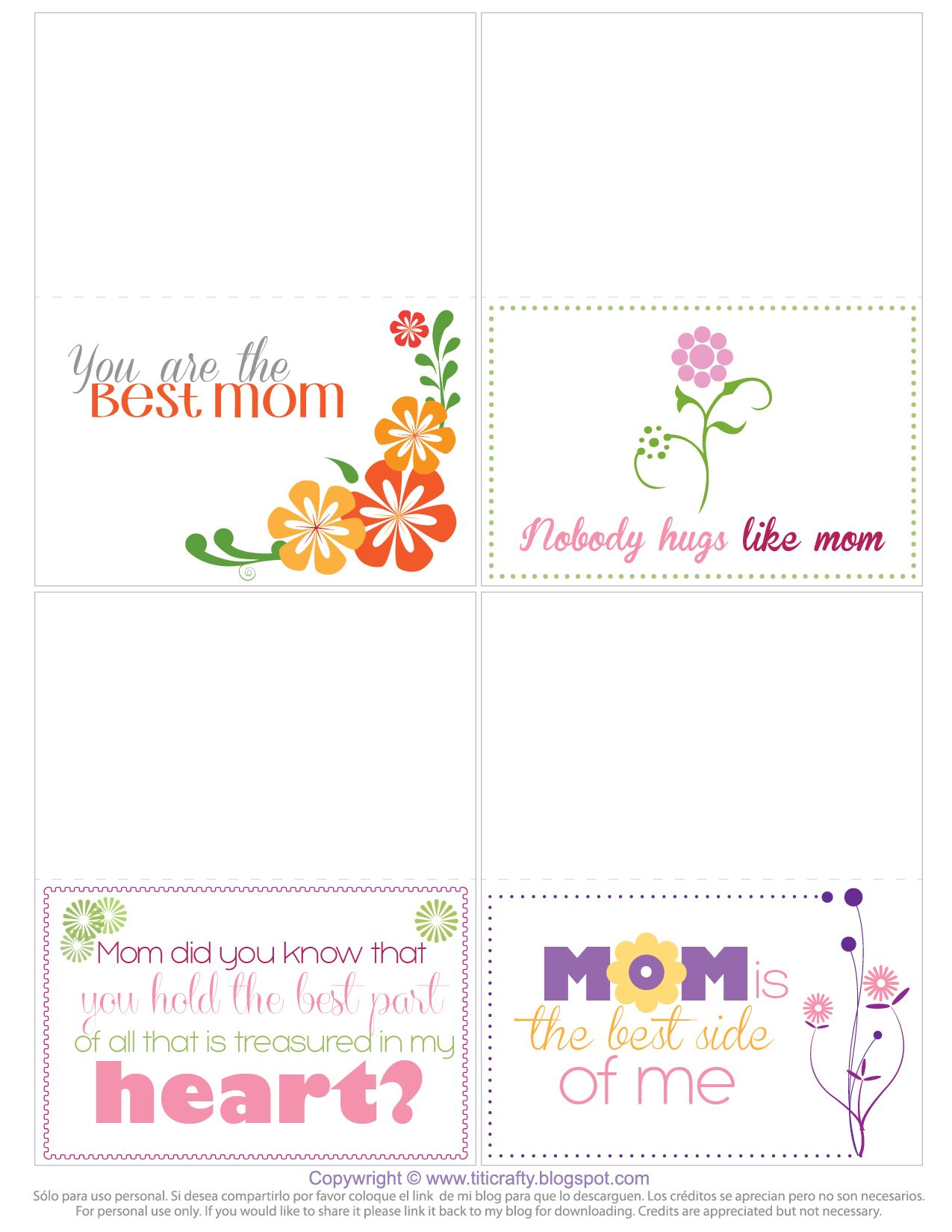 Mother S Day Free Printable Mini Cards Printable Cards Cards Printables Freebies