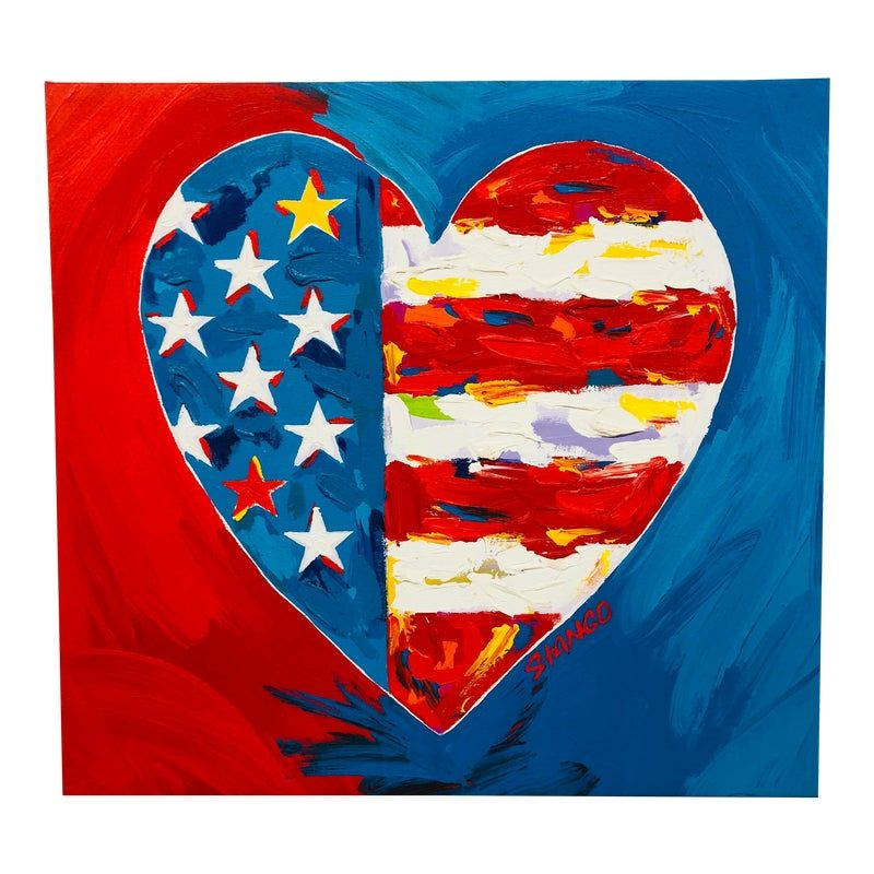 Original Vintage Pop Art Heart-Shaped American Flag Painting by Stango