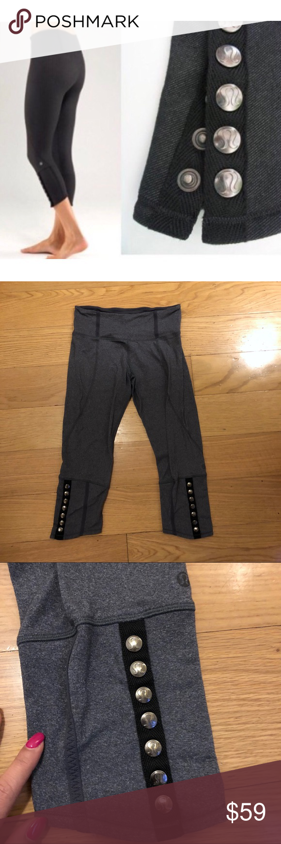 "ef2b27f1f4 Lululemon Snap Me Up Crop Lululemon Snap Me Up Crop in Heathered Coal. -Size  8. -High rise. -Inseam: 21"" -Excellent condition. NO Trades."