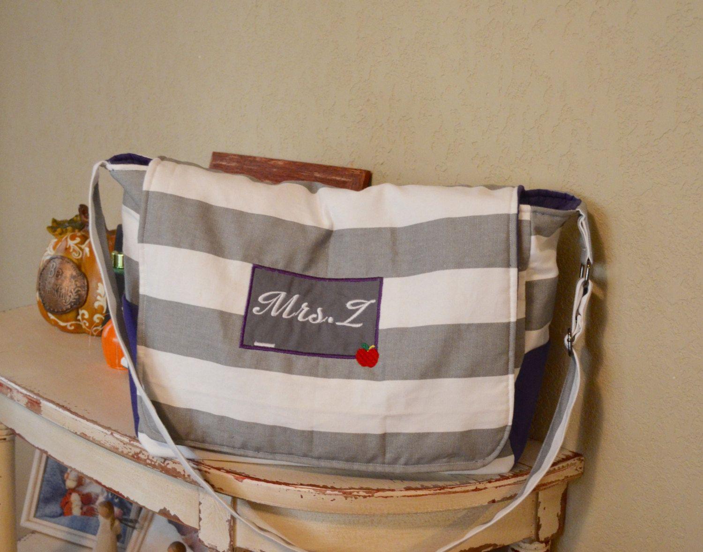 Handmade personalized teachers messenger bag by LittleDivasCreations on Etsy