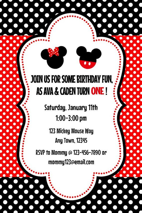 Mickey & Minnie Twins 2 Invitation and by MelissaStanleyDesign ...