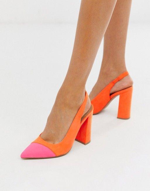 DESIGN Password slingback high block heels in orange and