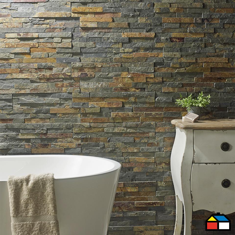 Piedra mosaico oxidada sodimac homecenter muros for Piedras naturales para decoracion interiores